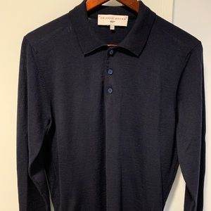 Orlebar Brown Men's merino wool long sleeve polo